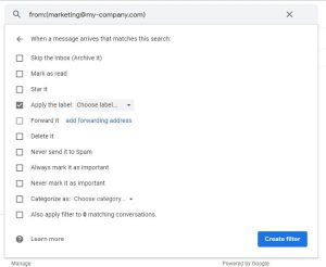 create filter menu gmail
