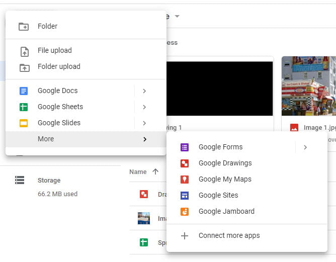 new menu on google drive