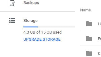 storage info bar Google Drive