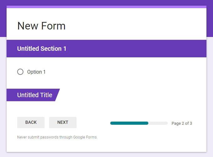display section progress bar Google Forms