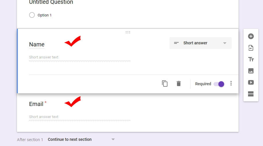 inserted questions in new google form