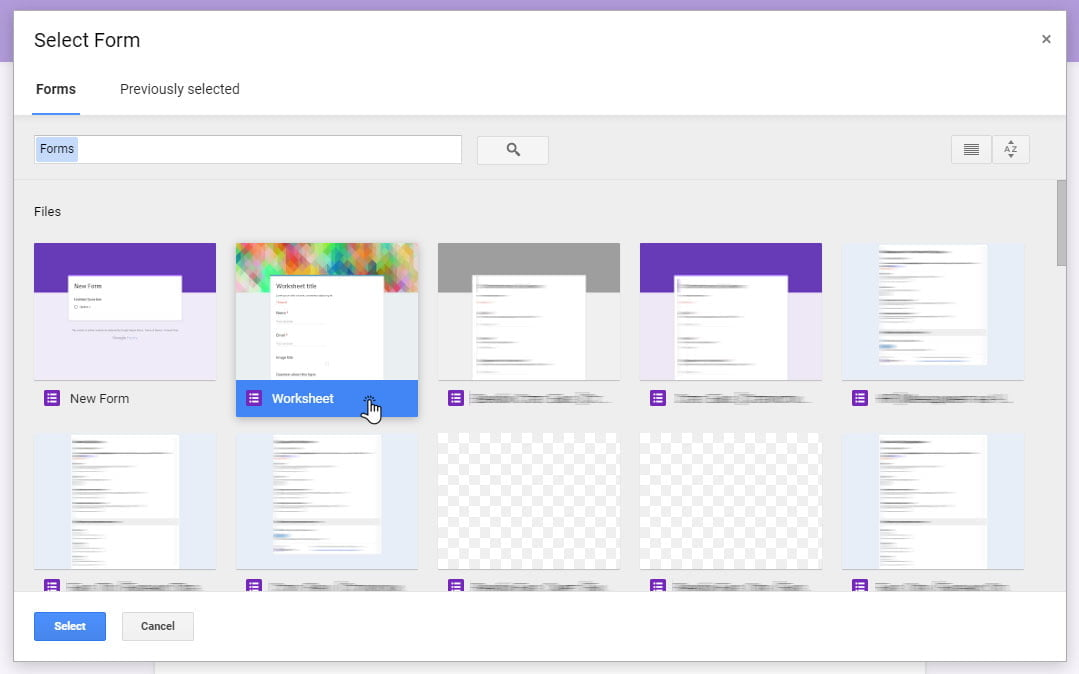 select form to import google forms