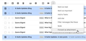 select and forward email as attachment Gmail