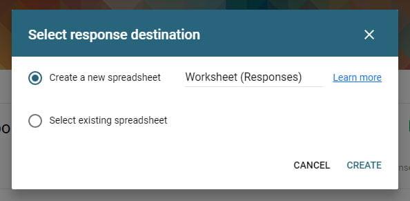 select response destination google form