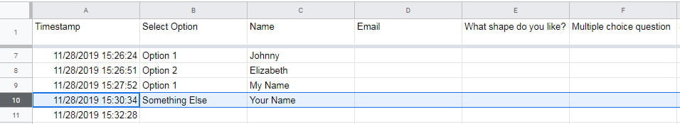 spreadsheet with responses google forms