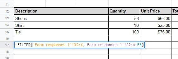 filter values invoice number Google sheet
