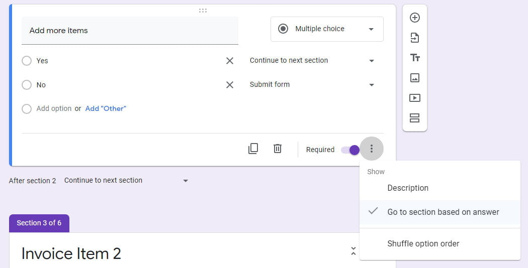go to section based on answer Google Forms