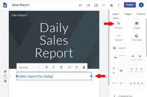 insert text box in new google sites