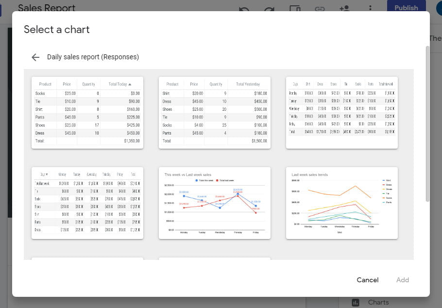 select the chart to insert in site