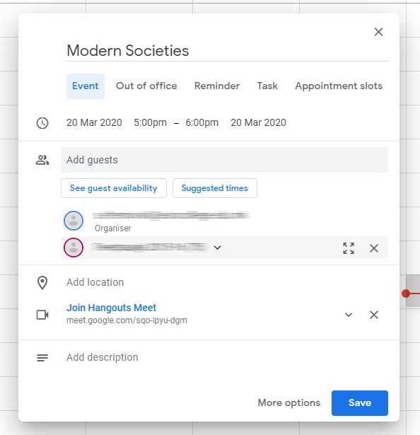 add guests on calendar event for google meet