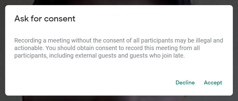ask for consent google meet
