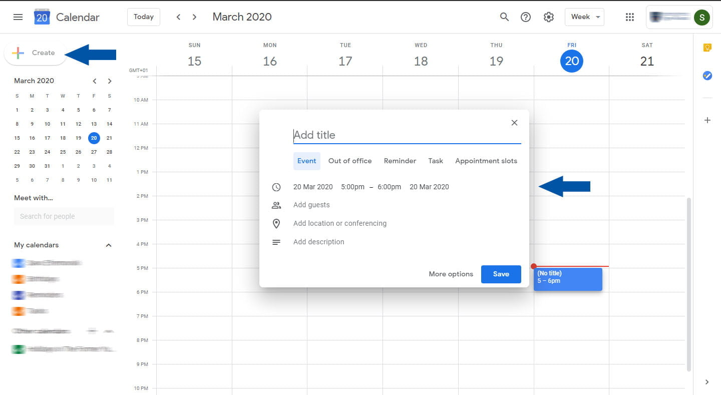 schedule create calendar event