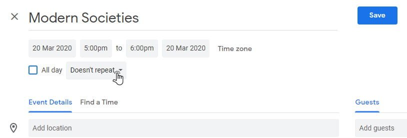 set recurring event in google calendar