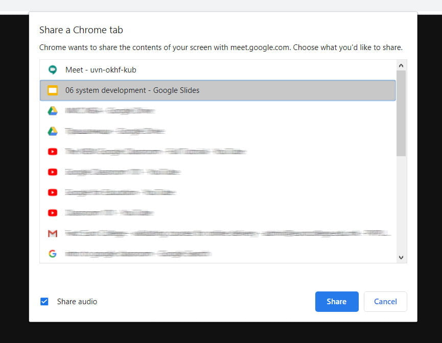 share a chrome tab