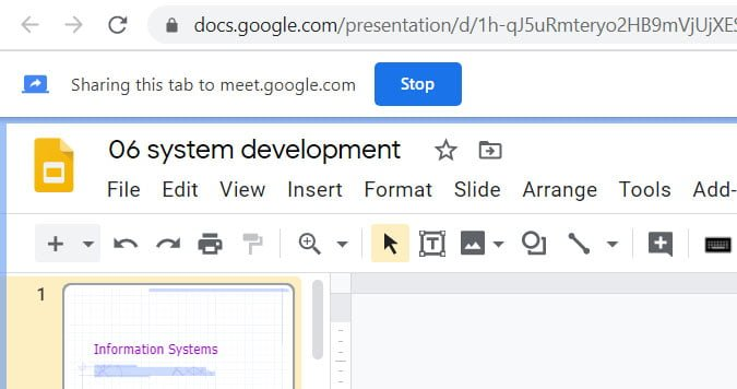 stop sharing tab in google meet
