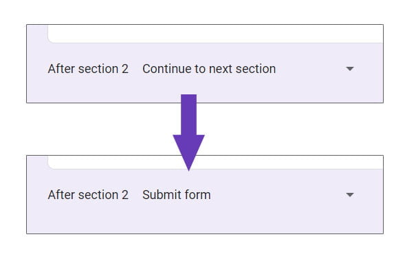 change after section to submit form