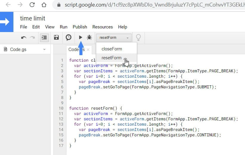 reset section form on google script
