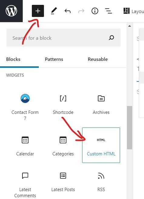 embed custom html in block editor