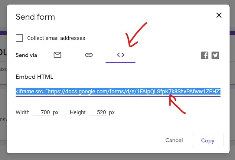 get the embed code for Google Form