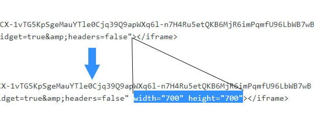 insert height and width to embed code