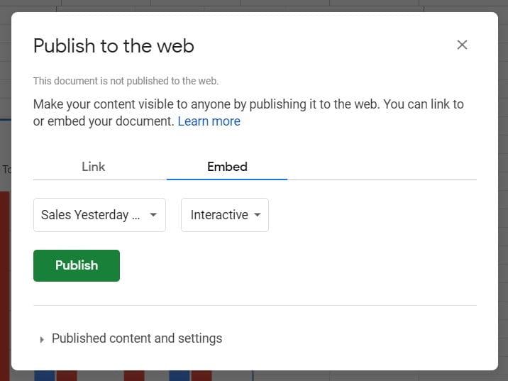 publish embed chart google sheets