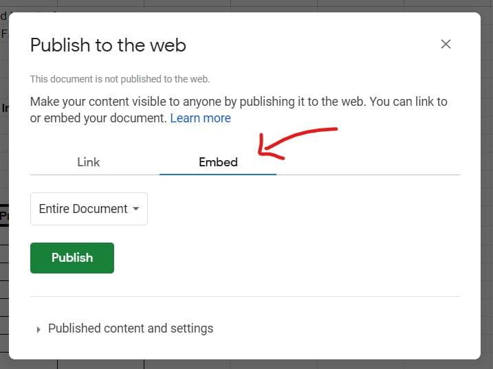 publish to the web Google Sheets