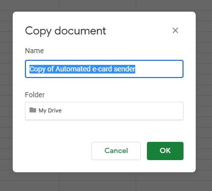 copy document change name and folder in My Drive